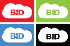 BID text, on cloud bubble sign. Stock Images