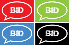 BID text, on ellipse speech bubble sign. BID text, on ellipse speech bubble sign, in color set Stock Images