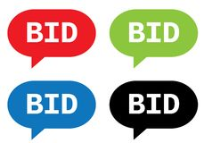 BID text, on rectangle speech bubble sign. BID text, on rectangle speech bubble sign, in color set Royalty Free Stock Photos