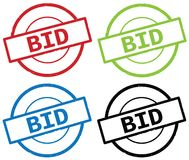 BID text, on round simple stamp sign. BID text, on round simple stamp sign, in color set Stock Photos
