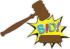 Bid to buy auction gavel cartoon icon. Online auction bid gavel hits stand to end sale in cartoon style icon Stock Photography