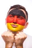 Bid voor Duitsland Bidt de Duitse de voetbalfan van het gezichtsportret voor nationaal team Royalty-vrije Stock Foto