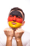 Bid voor Duitsland Bidt de Duitse de voetbalfan van het gezichtsportret voor nationaal team stock foto