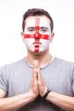 Bid voor Engeland De de voetbalfan van Engelsman bidt voor het nationale team van spelengeland royalty-vrije stock afbeelding