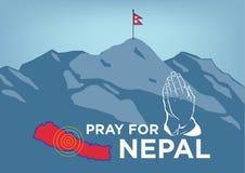 Bid voor het concept van de de Aardbevingscrisis van Nepal met het bidden hand, kaart en vlag en de het meest everest waaiers van royalty-vrije illustratie