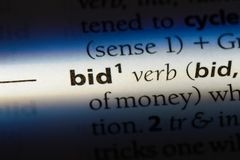Bid. Word in a dictionary.  concept royalty free stock photo