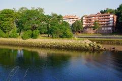 Bidasoa河的野鸡海岛在法国和西班牙之间 免版税库存照片