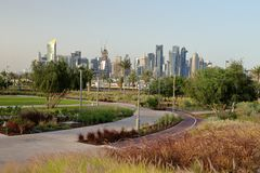 Bidda Park cycle track and towers in Qatar. BIDDA PARK, Doha, Qatar - March 21, 2018: View of the newly opened Bidda Park in the centre of Qatar`s capital,with royalty free stock image