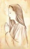 Biddend Maagdelijke Mary - potloodtekening Stock Foto