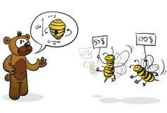 Bidder bees and buyer bear Royalty Free Stock Photos