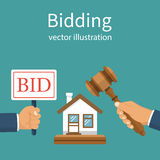 Bidding auction concept. Holding a sign Bid. Business sales. Buying selling house from auction. Auctioneer hold in hand gavel. Vector illustration flat design Royalty Free Stock Photo