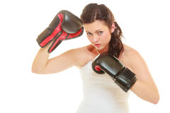 Bide wearing wedding dress and boxing gloves Stock Photo