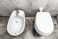 Bidet i toilette fotografia royalty free