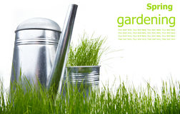 Bidon d'arrosage avec l'herbe et les outils de jardin Photographie stock libre de droits