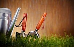 Bidon d'arrosage avec l'herbe et les outils de jardin Photos stock