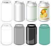Bidon de boisson dans différents types Image libre de droits