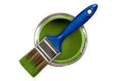 Bidon vert de peinture Photos stock