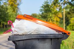 Bidone della spazzatura riempito che sta in natura Immagine Stock Libera da Diritti