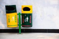 Bidone della spazzatura sul tempio della Cina Fotografia Stock Libera da Diritti