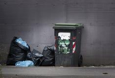 Bidoni della spazzatura e borse Raccolta separata Fotografie Stock Libere da Diritti