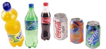 Bidons avec des boissons Images libres de droits
