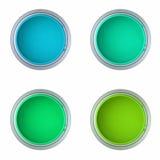 Bidons avec la peinture bleue et verte Photographie stock