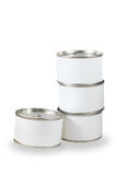 Bidons blancs d'étiquette Photographie stock