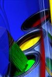 Bidons colorés abstraits de la peinture, des couleurs primaires et du pinceau, Y photo stock