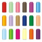 bidons colorés d'isolement Photos libres de droits