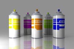 Bidons d'aérosol de couleur illustration libre de droits
