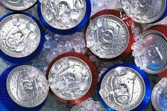 Bidons de boisson sur la glace écrasée images stock
