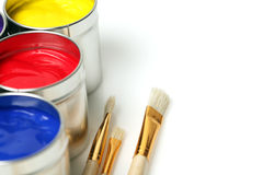 Bidons de peinture Photo stock