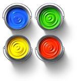Bidons de peinture en métal Image stock