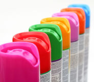 Bidons multicolores d'aérosol Photo libre de droits