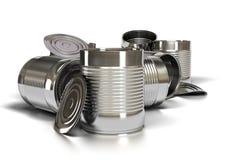 Bidons utilisés en métal Photo stock