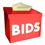Bids Collecting Vendor Contractor Supplier Pricing Box 3d Illust. Ration Royalty Free Stock Images