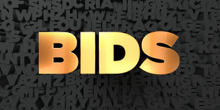 Bids - Gold text on black background - 3D rendered royalty free stock picture Stock Image