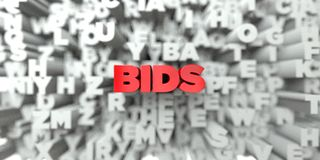 BIDS -  Red text on typography background - 3D rendered royalty free stock image. This image can be used for an online website banner ad or a print postcard Stock Photography