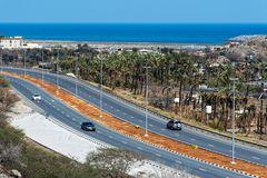 Bidya, United Arab Emirates - March 16, 2019: Oman gulf and coastal road of Bidya in emirate of Fujairah in UAE. Bidya, United Arab Emirates - March 16, 2019 stock photo
