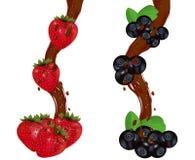 Bieżąca czekolada z świeżą dojrzałą truskawką i czarną jagodą wektor Zdjęcie Royalty Free