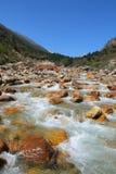 Bieżąca rzeka w skalistej Riwuqie dolinie Zdjęcia Stock