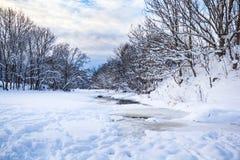 Bieżąca rzeka w zimie Obraz Stock