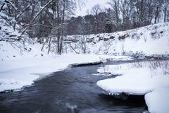 Bieżąca rzeka w zimie Obrazy Royalty Free