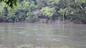 Bieżąca rzeka z strojem jednoczęściowy grat zbiory