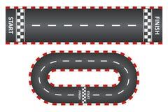 Bieżny ślad, odgórny widok asfaltowe drogi ustawiać, karta rasa z początkiem i meta, wektor ilustracja wektor
