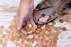 Bieda i monety Obraz Stock