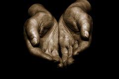 biedną starą ręce Zdjęcia Stock