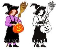 Biedna mała czarownicy dziewczyna Ilustracja Wektor