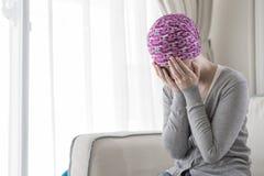 Biedna nowotwór kobieta fotografia royalty free