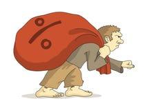 Biedny człowiek ciągnie worek ilustracja wektor